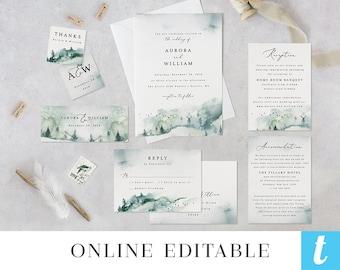 Printable Wedding Invitation Template, Wedding Invite Set, Digital Instant Download Editable Suite, Woodland Forest Mountain Aurora Templett