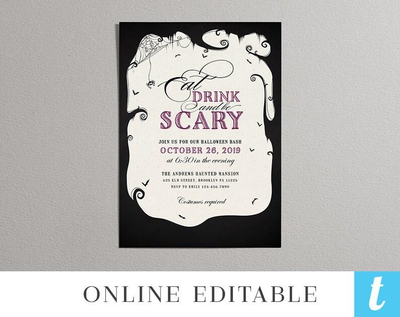 Printable Halloween Invitation Template Adult Kids Party Invites Editable Instant Download DIY PDF Eat Drink Scary Purple Templett