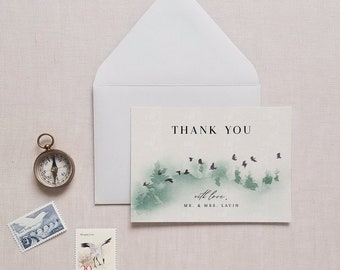 Forest Wedding Thank You Card Template Folded Flat Printable Outdoor Woodland Mountain Thank Note Editable Instant Download Bella Templett