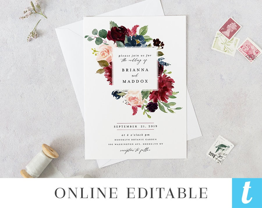 It is a photo of Canny Etsy Wedding Invitations Printable