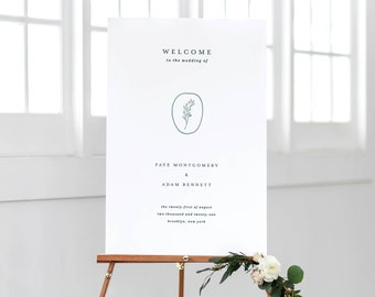 Simple Wedding Welcome Sign Template Printable Green Emerald Instant Download Signage Classic Minimalist Editable Decorations Faye Templett