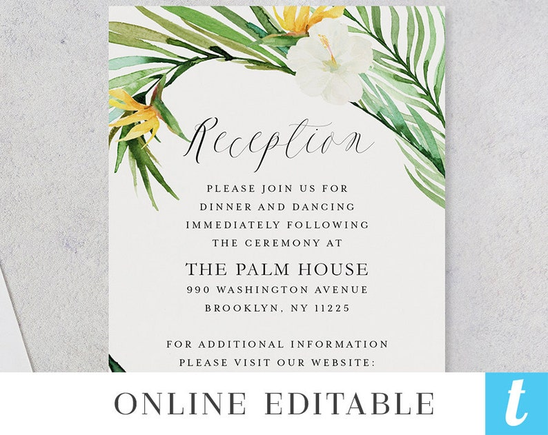 Pink Floral Botanical Carrie Tropical Beach Wedding Save the Date Template Printable Hawaiian Destination STD DIY Download Editable Invite