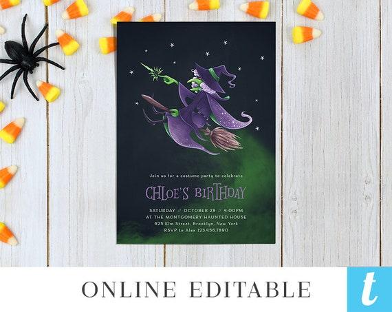 Printable Halloween Invitation Template For Kids Halloween Etsy