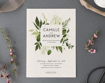 Woodland Wedding Invitation Set,Printable Forest Wedding Suite,Nature Wedding,Outdoor Wedding Invites,Green Leaves,Garden Wedding, Light