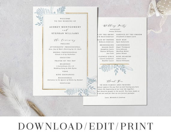 Printable Wedding Program Template Instant Download Order Of Etsy