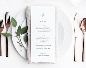 Classic Fine Art Wedding Menu Template Printable Simple Menus Editable Instant Download Table Dinner Decor PDF Green Emerald Faye Templett