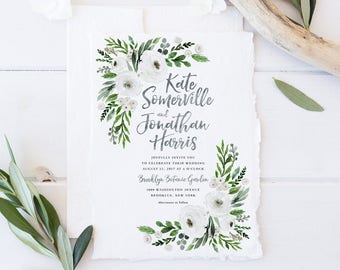 Wedding Invitation Set, Printable Spring Summer Wedding Invites, Natural White Floral Wedding Invitations, Greenery Watercolor Green Leaves