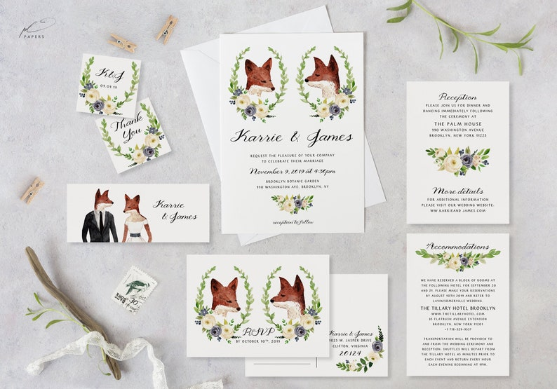 image relating to Free Printable Woodland Animal Templates named Boho Marriage Invitation Template Preset Printable Woodland Animal Fox Handful of Portrait Suite Do it yourself Fast Obtain Editable Invitations Fauna Templet