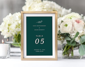 Classic Table Signs Printable Simple Fine Art Wedding Table Numbers Decor Template Green Emerald Instant Download Editable Faye Templett