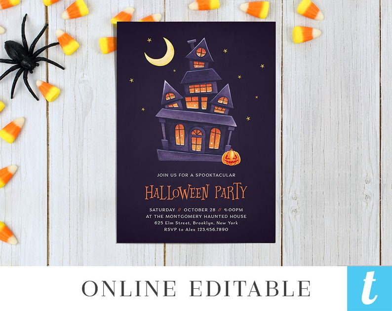 Printable Halloween Invitation Template For Kids Spooktacular Party Invites Editable Instant Download DIY Haunted House Templett