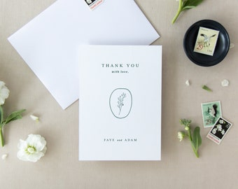 Simple Wedding Thank You Card Template Folded Flat Printable Note Classic Green Emerald Fine Art Editable Instant Download PDF Faye Templett
