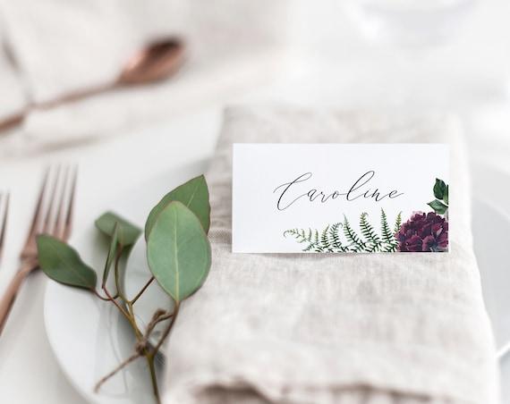 Rustic Woodland Wedding Invitation Template Printable Floral Fern Purple Invites DIY Instant Download Digital Editable Cards Emily Templett