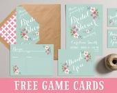 Bridal Shower Invitation, Printable Bridal Shower Invites, DIY Shower Party Pack, Bridal Shower Games Favors Tags, Spring Summer Mint Pink