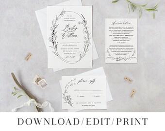 Printable Wedding Invitation Template Set DIY Instant Download Editable Invites, Digital 3pcs Suite PDF Simple Calligraphy, Bailey Templett