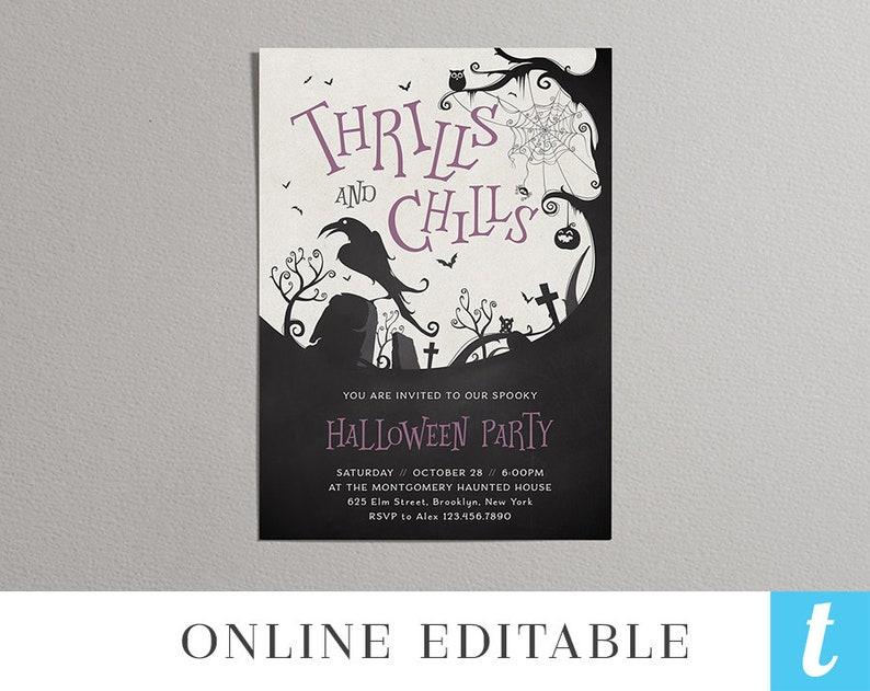 Printable Halloween Invitation Template Adult Costume Party Invite DIY Editable Instant Download PDF Digital Purple Raven Templett