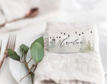 Wedding Place Card Template Printable Forest Outdoor Woodland Mountain Dinner Name Cards Setting Instant Download Table Decor Bella Templett