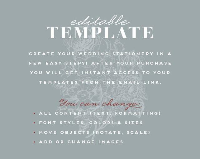 Printable Winter Wedding Invitation Template Suite Editable Instant