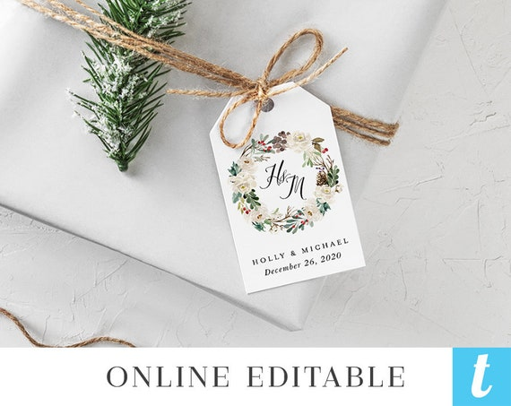 Winter Wedding Gift Tags Template Printable Digital Instant Etsy