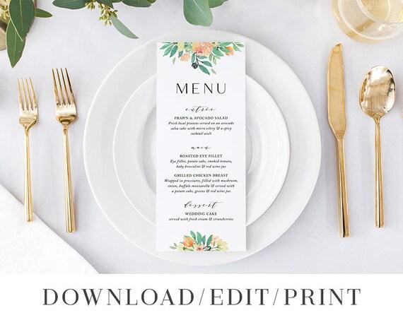 Menu Card Template Printable Wedding Cards Instant Download Menus Decorations DIY Editable Boho Watercolor Citrus