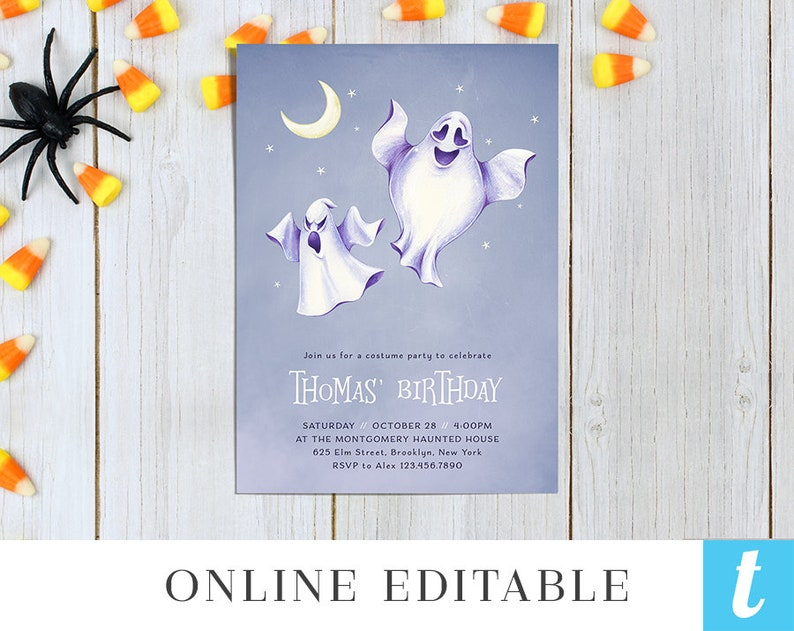 Printable Halloween Invitation Template for Kids Halloween Birthday Costume Party Invite Editable Instant Download DIY Spooky Ghost Templett