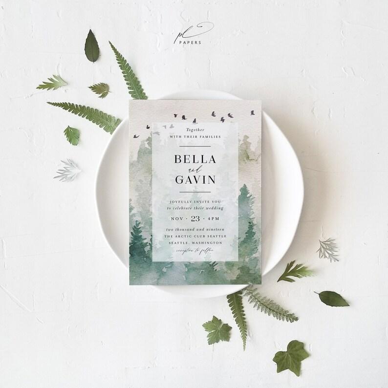 Forest Wedding Invitation Template Set Printable Outdoor Woodland Mountain DIY 3pcs Suite Instant Download Editable Invites Bella Templett