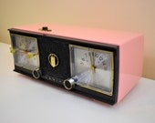 Fontaine Pink Black 1959 Zenith Model C624V AM Vacuum Tube Clock Radio Works Great and Sassy Looking