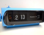 Orbit Blue 70s Panasonic Model RC-1103 Flip Clock Solid State AM Radio Works Great
