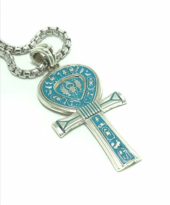 Sterling Silver Ankh Pendant Key of Life Nile Religious Charm Solid 925 Italy
