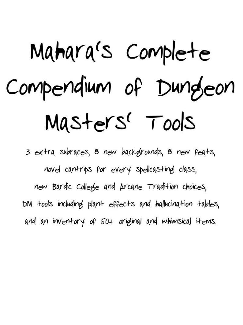 Mahara's Complete Compendium of Dungeon Master's Tools - DM tools for 5e  D&D including new subraces, feats, items, spells, and more!