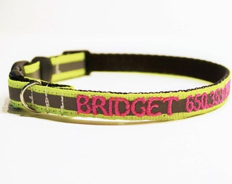 """Personalized Cat Collar / Reflective Dog Collar / Made to Order / 3/8"""" Wide"""