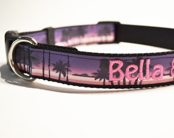 "Personalized Dog Collar / Beach Dog Collar / Pets / Made to Order / 1"" wide / NEW"