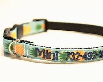 """Personalized Cat Collar / Mini Dog Collar / Tiny Breeds / Pineapple / Made to Order / 3/8"""" Wide"""