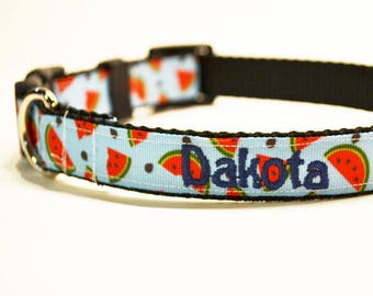"""Personalized Dog Collar / Watermelon Dog Collar / Pets / Adjustable Dog Collar / Made to Order / 3/4"""" - 5/8"""" Wide"""
