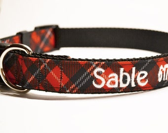 Personalized Dog Collar - Plaid - Dog Collar - Pets - 1 inch wide - Made to Order