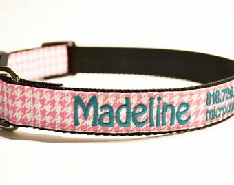 "Personalized Dog Collar / Houndstooth / Pets / Made to Order / 1"" wide / Pink"