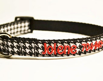 """Personalized Dog Collar - Houndstooth Dog Collar - 5/8""""-3/4"""" wide - Made to order"""