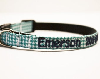"Personalized Cat Collar / Mini Dog Collar / Tiny Breeds / Aqua Houndstooth / Made to Order / 3/8"" Wide"