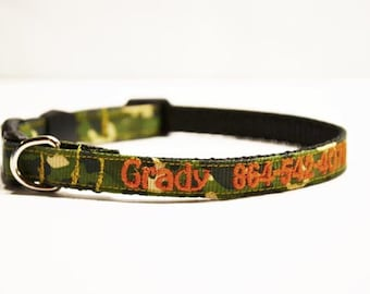 """Personalized Dog Collar / Cat Collars / CAMO / Made to Order / 3/8"""" wide"""