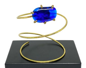 Rafael Canada Upper Arm Bracelet - Modernist Arm Band - Royal Blue Glass - Studio Artisan - Alfandary - 1970's Brass