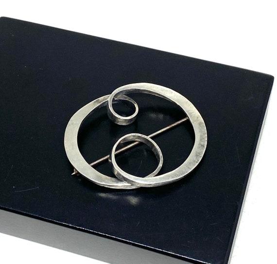 Rare ART SMITH Spiral Brooch - Sterling Silver - A