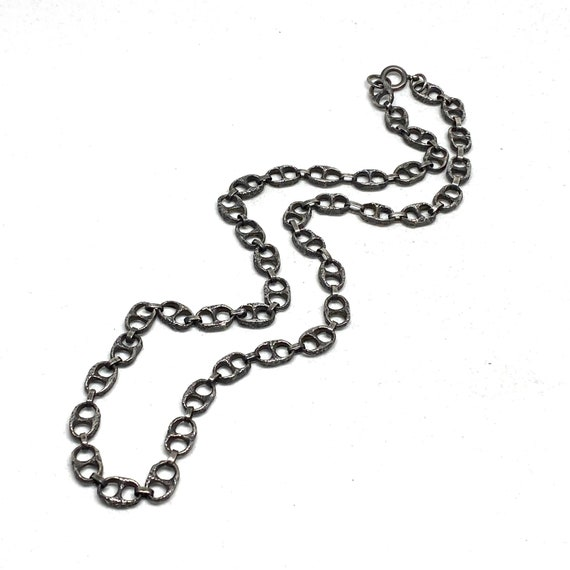 Brutalist Chain Necklace - Unisex Silver Tone - La