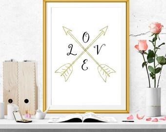 Love Arrows Print. Faux Gold Foil Arrows Print
