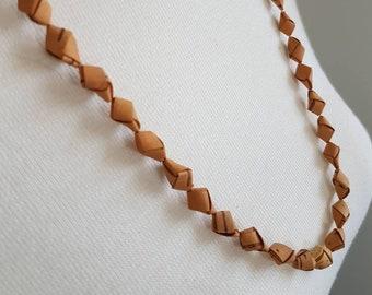 Vintage/retro handmade birch bark beads, light  necklace