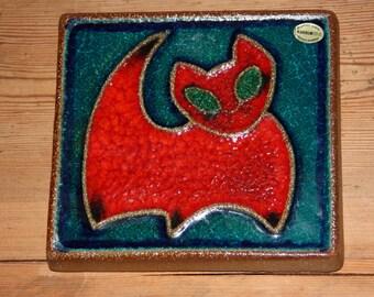 SALE/Soholm pottery Cat wall plaque by Joseph Simon, Denmark