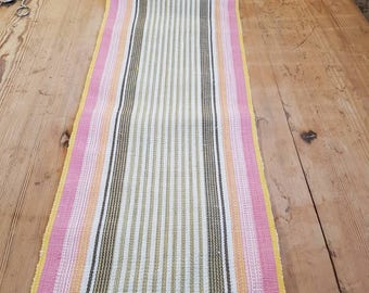 Beautiful hand woven pink striped / tablerunner tablecloth in linen from Sweden