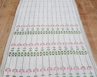 Beautiful hand woven pink floral/Linnea / tablerunner / tablecloth in linen from Sweden