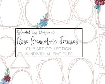 Rose gold geometric frames, gold frames, clip art, rose gold clip art, navy and wine, wedding clip art, frame clip art, commercial use