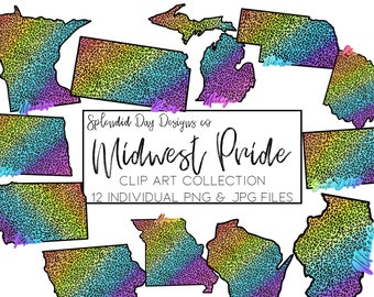Midwest clip art, Cheetah print, animal print, jungle rainbow, Minnesota, Wisconsin, state clipart, home, pride, png, commercial use