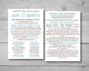 Diy Wedding Program Wedding Program Template Funny Wedding Etsy