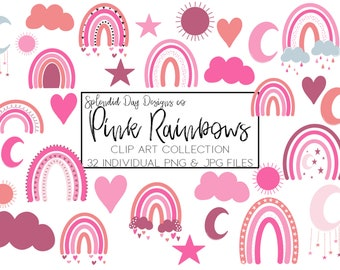 Pink rainbow clip art, Valentines clip art, Spring rainbow, heart, sun, baby shower, moon and stars, png, pink, rain cloud, commercial use